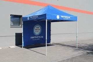 Finntriathlon logolla 3x3m sininen popup teltta